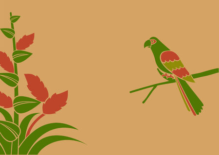 Vector Illustration of a parrot on a branch  Vector
