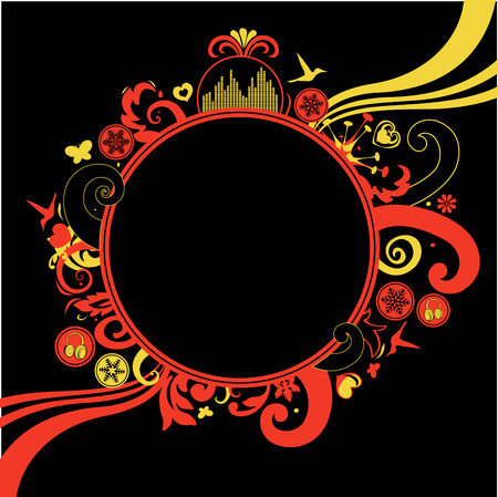 Vector illustration of floral, funky frame on the black background with a blank space for your own text. Vector