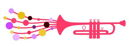 Ilustración del vector de la silueta de trompeta decorada con gotas círculo de color, como un símbolo de la melodía Foto de archivo - 4891696