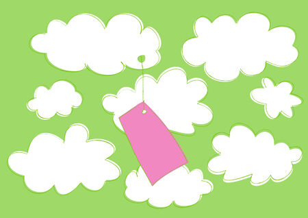Vector illustration of funny cartoon label attached to the cloud on the sky background.  Vector