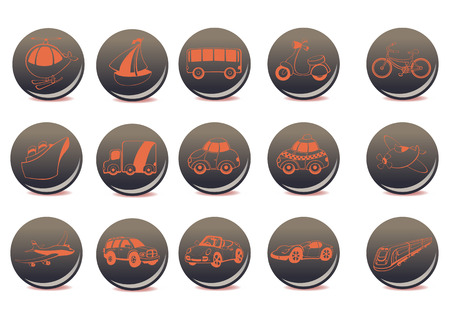 Vector illustration of the red transportation icons on the grey buttons Vector