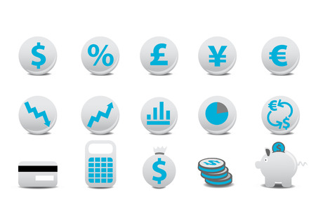 Vector illustration of financial buttons. You can use it for your website, application, or presentation Stock Vector - 4915832