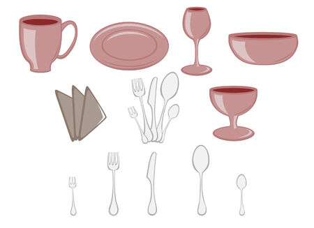 Vector illustration of Dining set. Kitchenware design elements Stock Vector - 4915786