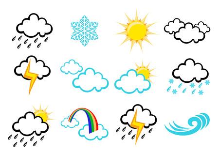 iconos del clima: Ilustraci�n vectorial Tiempo elegante conjunto de iconos para todos los tipos de clima Vectores