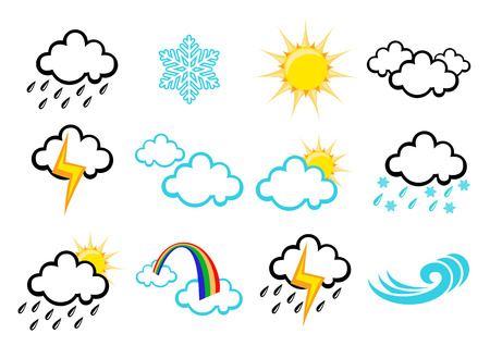 Vector illustration set of elegant Weather Icons for all types of weather Vector