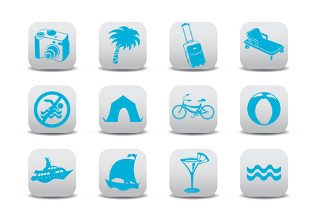 Vector illustration of  icon set or design elements relating to summer tourism Vector