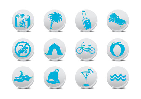 relating: Vector illustration of  icon set or design elements relating to summer tourism Illustration