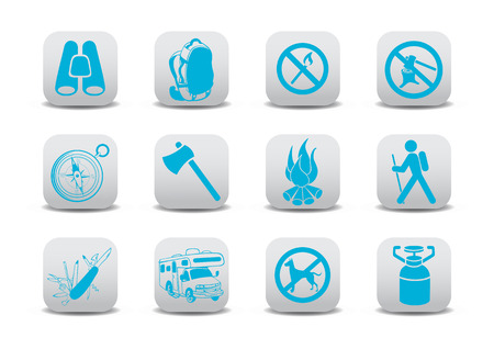 penknife: Vector illustration of  icon set or design elements relating to camping tourism