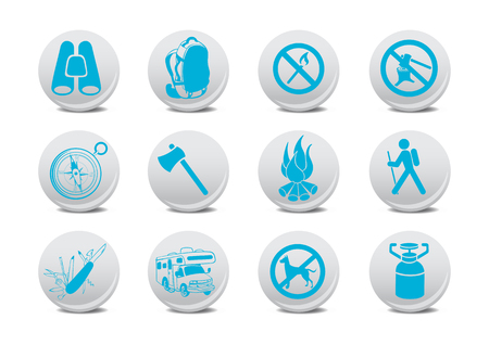 Vector illustration of camping buttons .You can use it for your website, application or presentation Vector