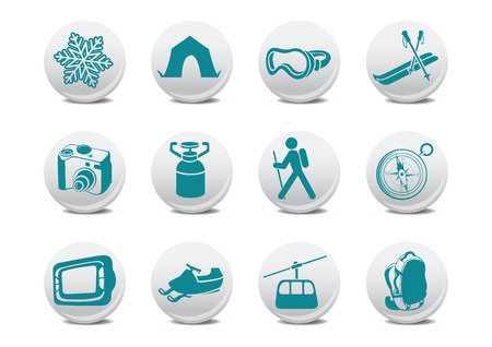 penknife: Vector illustration of winter campingski buttons .You can use it for your website, application or presentation