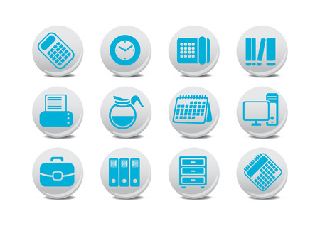 Vector illustration of office equipment buttons. You can use it for your website, application or presentation Vector