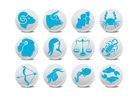 Vector illustration du zodiaque boutons. Vous pouvez l'utiliser pour votre site web, l'application ou de la pr�sentation