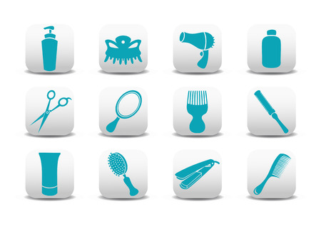 hairdressing salon: Vector illustration of  icon set or design elements relating to hairdressing salon
