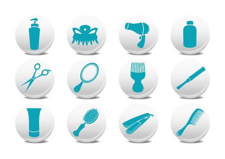 Vector illustration of  buttons set or design elements relating to hairdressing salon.  Illustration