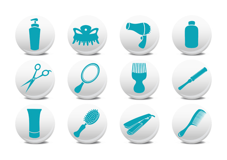 Vector illustration of  buttons set or design elements relating to hairdressing salon.  Vector