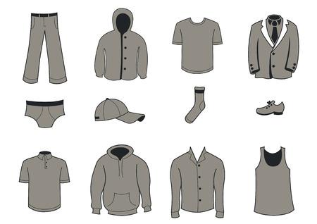 Ilustración vectorial conjunto de ropa y accesorios de moda Iconos Ilustración de vector