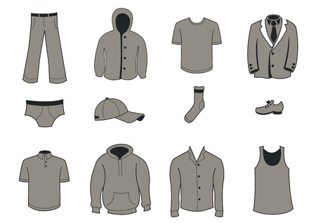 Vector illustration set of fashion  Clothing and Accessories Icons Vector