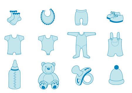 Vector illustration Reihe von Baby-Bekleidung und Zubehör Icons