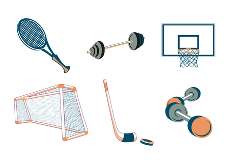 Vector illustration of  icon set or design elements relating to sport-football, basketball, tennis, hockey and fitness. Vector