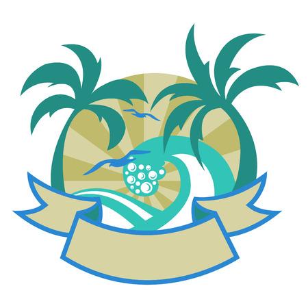 m�ve: Vector illustration von tropischen Inseln mit sch�nen Palmen, Strand und M�wen.