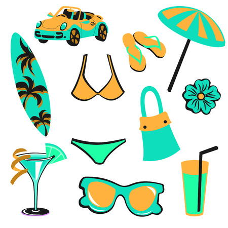 cartoon surfing: Vector illustration of woman accessories set related to summer glamour fashion. Illustration
