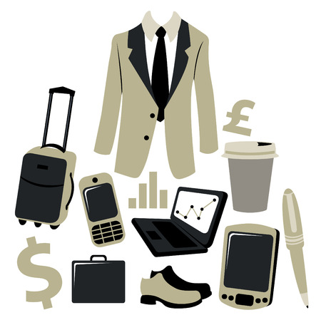 bussiness: Vector illustration of bussiness man accessories set. Illustration
