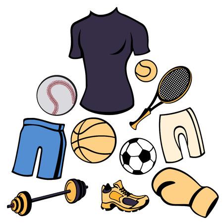 life style: Vector illustration de l'homme mis en accessoires li�s au sport style de vie. Illustration
