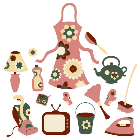 buckets: Vector illustration of housewife accessories icon set. Illustration