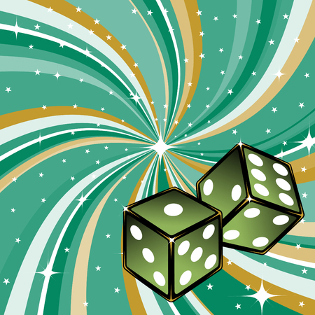 Vector illustration of two dice on the beautifull shiny green background. Casino items. Vector