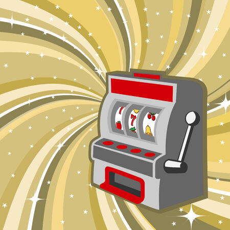 Vector illustration of gambling machine on the beautifull shiny background Vector
