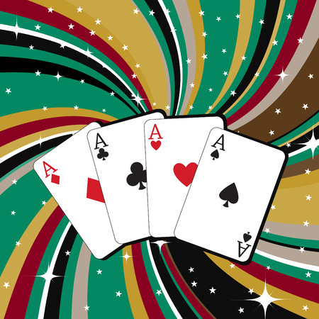 double game: Vector illustration of gambling cards set on the beautifull background, decorated with stars and waves.