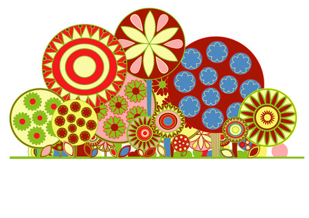 Vector illustration of funky floral background. Decorated with funny flowers and trees. Vector