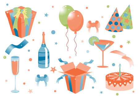 Vector illustration of funny birthday icons. Suitable for birthday cards and invotations. Stock Vector - 4942164
