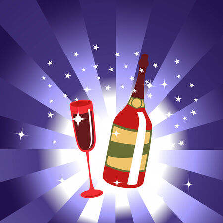 Vector illustration of wine bottle and glass on the blue background, decorated with beautiful stars. Vector