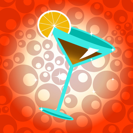 Vector illustration of the cocktail with lemon on the cute background. Vector