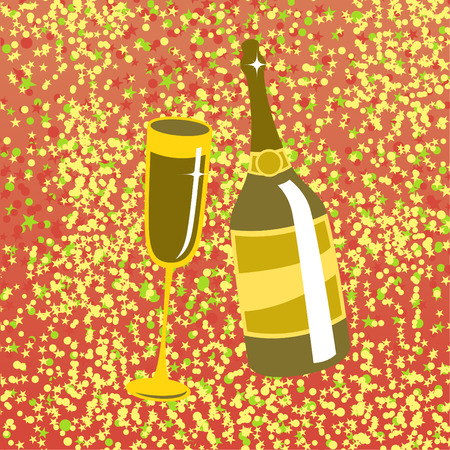 Vector illustration of wine bottle and  glass on the red background, decorated with beautiful stars. Stock Vector - 4953372
