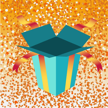 Vector Illustration of open birthday giftbox on the shiny background. Vector