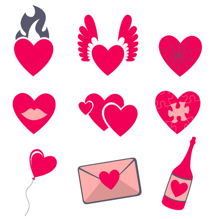 shopping champagne: Vector illustration of Love icons.  Ideal for Valetine Cards decoration Illustration