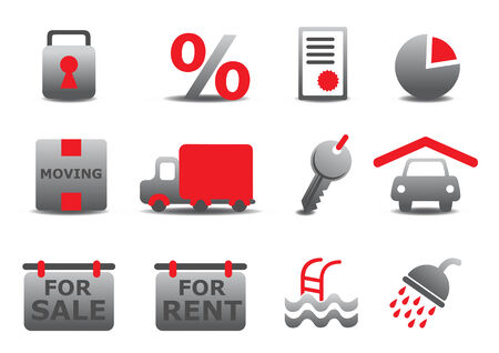 Vector illustration of real estate and moving icons set.You can use it for your website, application or presentation Vector