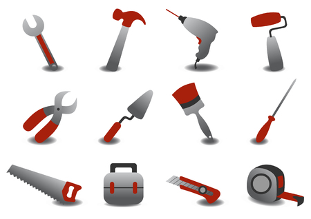steel workers: Vector illustration of professional repairing tools icons. Illustration