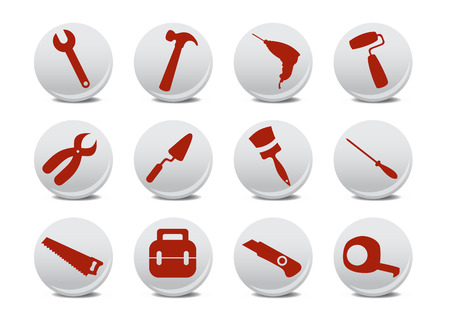 Vector illustration of different kinds of proffesional instruments. Repairing tools icon set. Stock Vector - 4953335