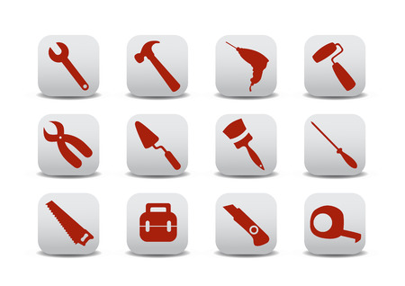 Vector illustration of different kinds of proffesional instruments. Repairing tools buttons set. Vector