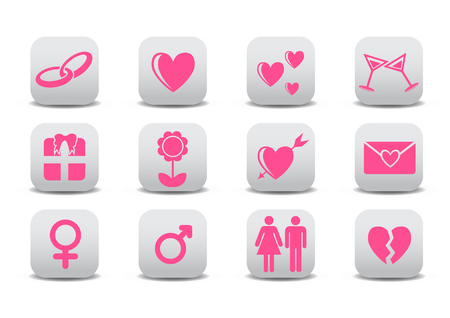 Vector illustration of Love icons.  Ideal for Valetine Cards decoration Illustration