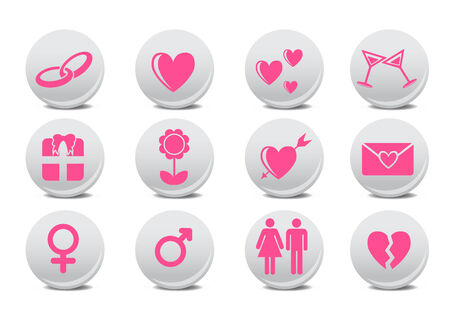 man vrouw symbool: Vector illustratie van liefde knoppen. Ideaal voor Valetine kaarten decoratie  Stock Illustratie