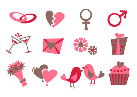 Vector illustration of Love icons.  Ideal for Valetine Cards decoration Vector