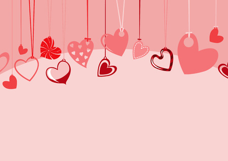 fun day: Vector illustration of Valentines Day background, decorated with beautifull hearts.