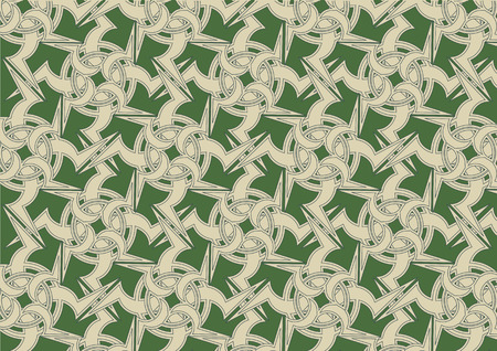 Vector illustration of celtic ornament abstract pattern on the green background Vector
