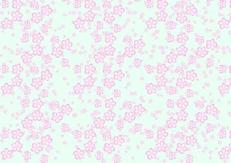 asian gardening: Vector illustration of different size sakura flowers pattern on the navy blue background