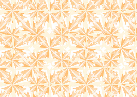 Vector illustration of orange crystals and stars pattern. Retro abstract Background Vector