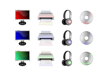 head phones: Vector illustration of glossy technological gadgets icons: LCD Display, head - phones, printer and disc Illustration